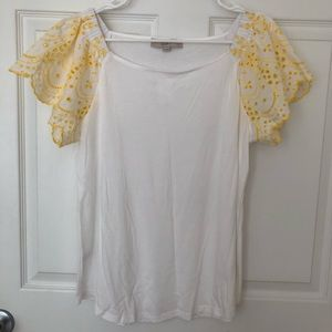 Loft White Top with Embroidered Sleeves NWT